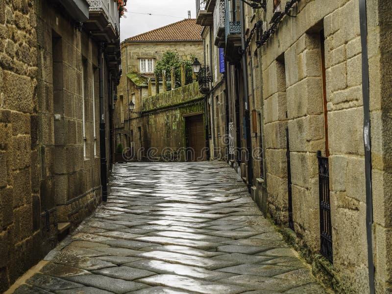Medieval village of Allariz in Spain. Narrow streets in the medieval village of Allariz in Galicia, Spain royalty free stock photography