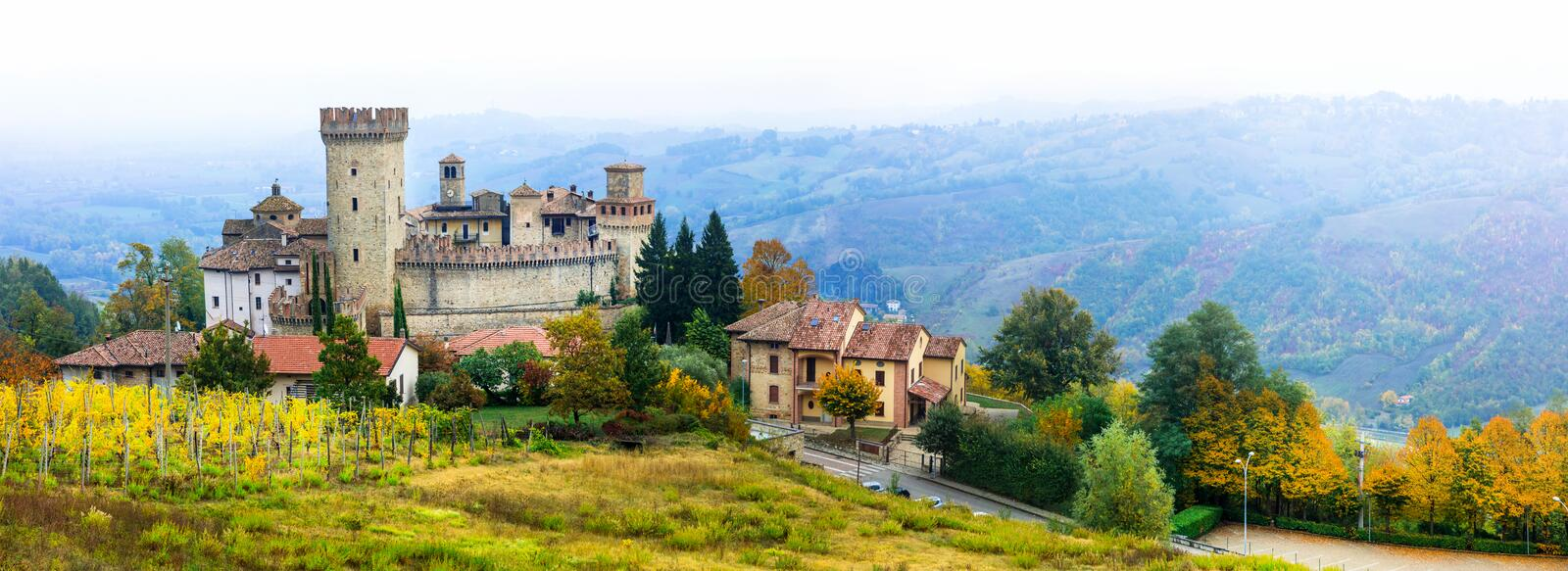Medieval village borgo Vigoleno with well preserved castle in. Impressive Vigoleno village,Panoramic view,Italy stock images