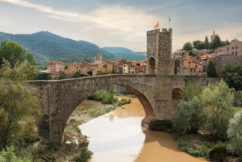 Medieval village and bridge in Besalu. Catalonia, Spain royalty free stock images