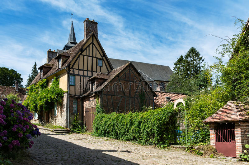 Medieval village house in France. Brick, mud and timber on the houses of the medieval village Gerberoy in Picardy in France stock photo
