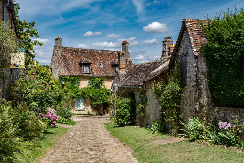 Medieval village house in France. Brick, mud and timber on the houses of the medieval village Gerberoy in Picardy in France stock photos