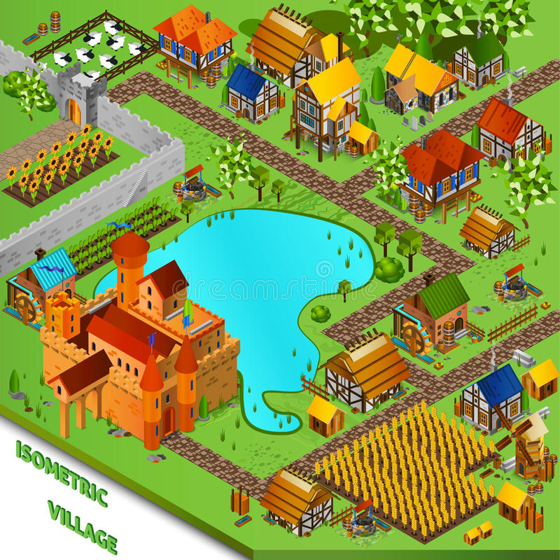 Medieval Village Isometric Illustration royalty free illustration