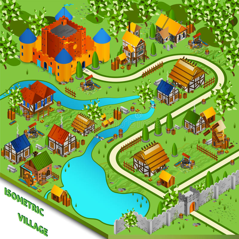 Medieval Village Isometric Landscape stock illustration