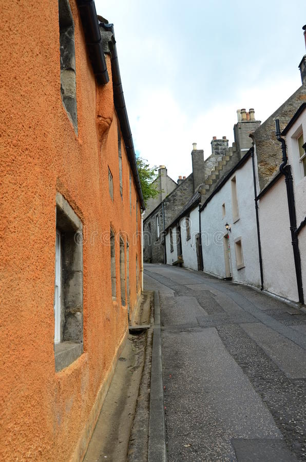 Medieval Village. A view up a narrow street in the medieval Royal burgh of Culross royalty free stock image