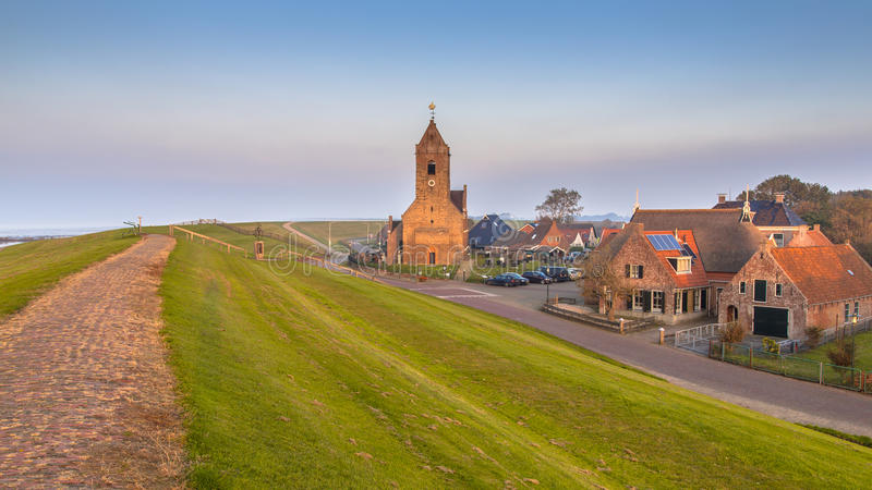 The medieval village of Wierum. On the at the Waddensea, Friesland, Netherlands stock photos