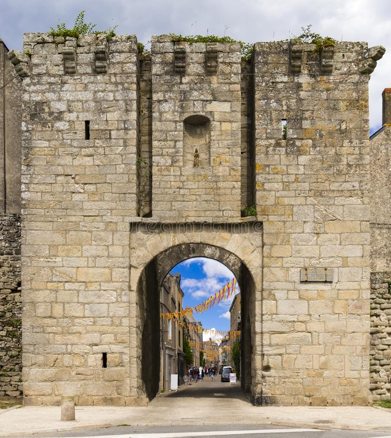 Medieval walls and churches of Guerande, France. Medieval town walls, turrets and churches of Guerande, France royalty free stock photos