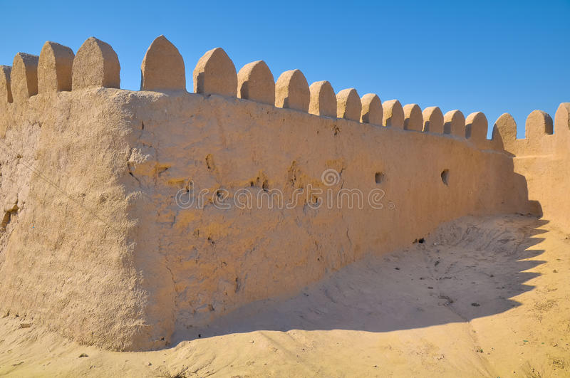 Medieval walls of clay with teeth stock image