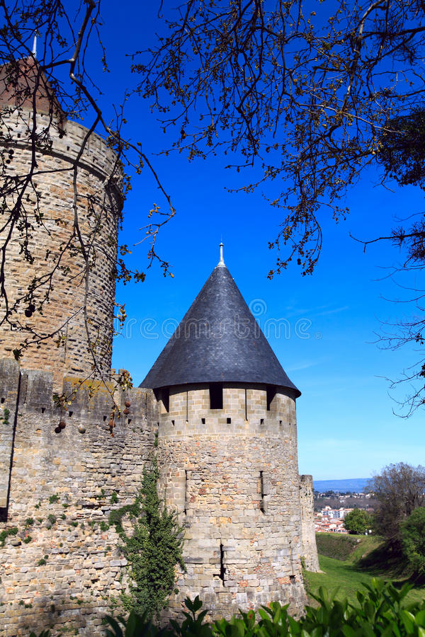 Medieval Walls and towers, city of Carcassonne royalty free stock image