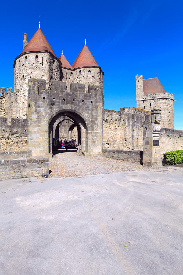 Medieval Walls and towers, city of Carcassonne stock photography