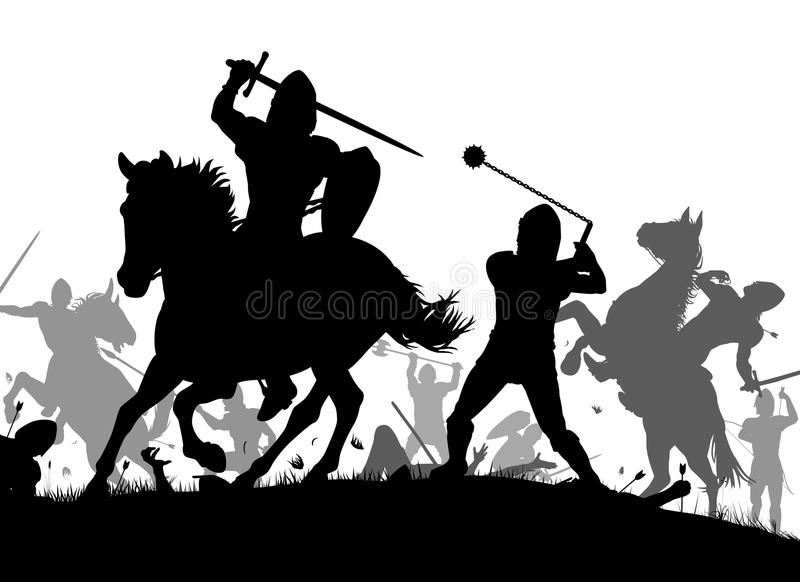 Medieval war. Vector silhouette illustration of a medieval battle scene with cavalry and infantry stock illustration