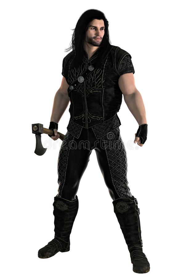 Medieval Warrior with Axe Isolated. 3D digital rendering of a male fantasy medieval ranger or nobleman holding an axe blade weapon. Particularly suited to book stock illustration