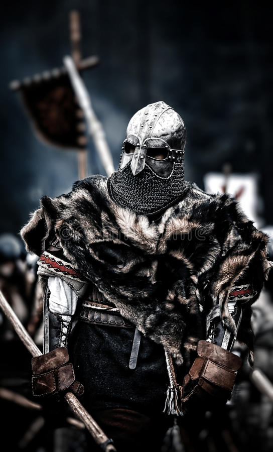 Medieval warrior. Medieval battle & x28;reconstruction& x29; Czech royalty free stock photo