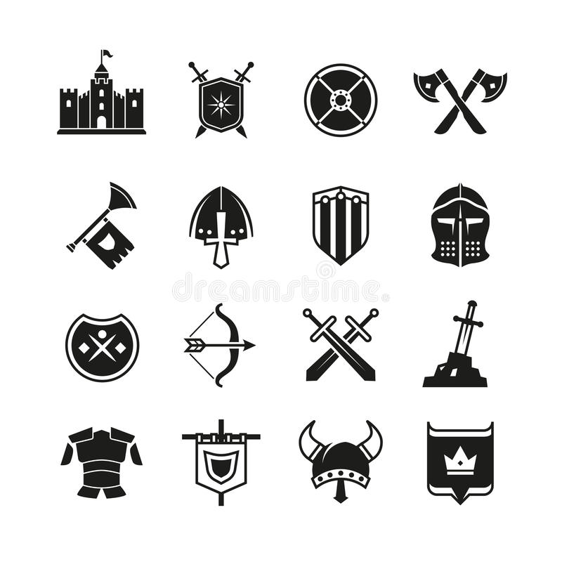 Medieval Warriors Shield And Sword Vector Icons Ancient Knight