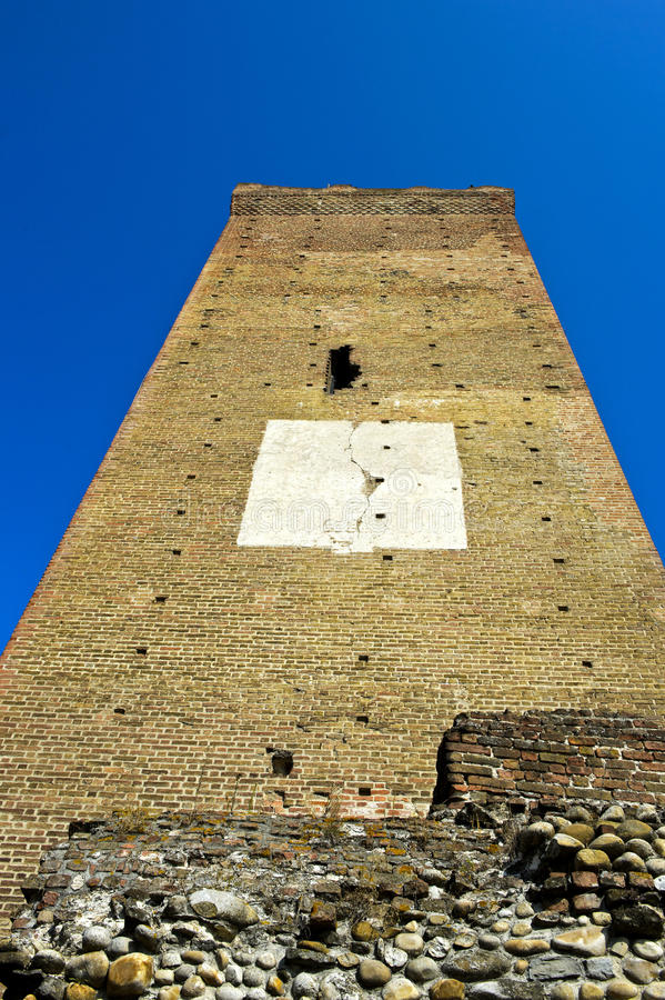 Medieval watch tower from below. Barbaresco, Province of Cuneo, Piedmont,Italy stock photos