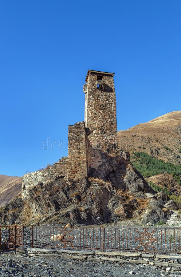 Medieval watch tower, Georgia. Medieval watch tower in village Sno Sno castle, Kazbegi region, Georgia royalty free stock images