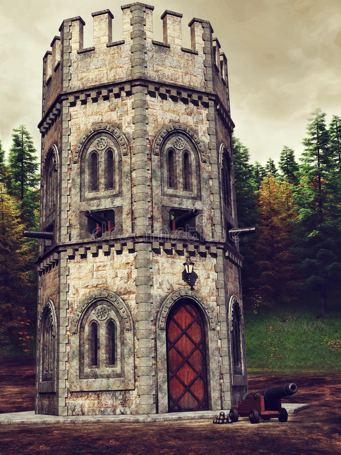 Medieval watchtower and cannon royalty free illustration