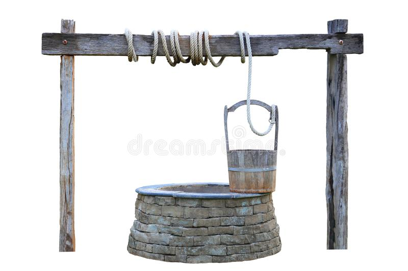 Medieval water well with wooden pole isolated on white background stock photo