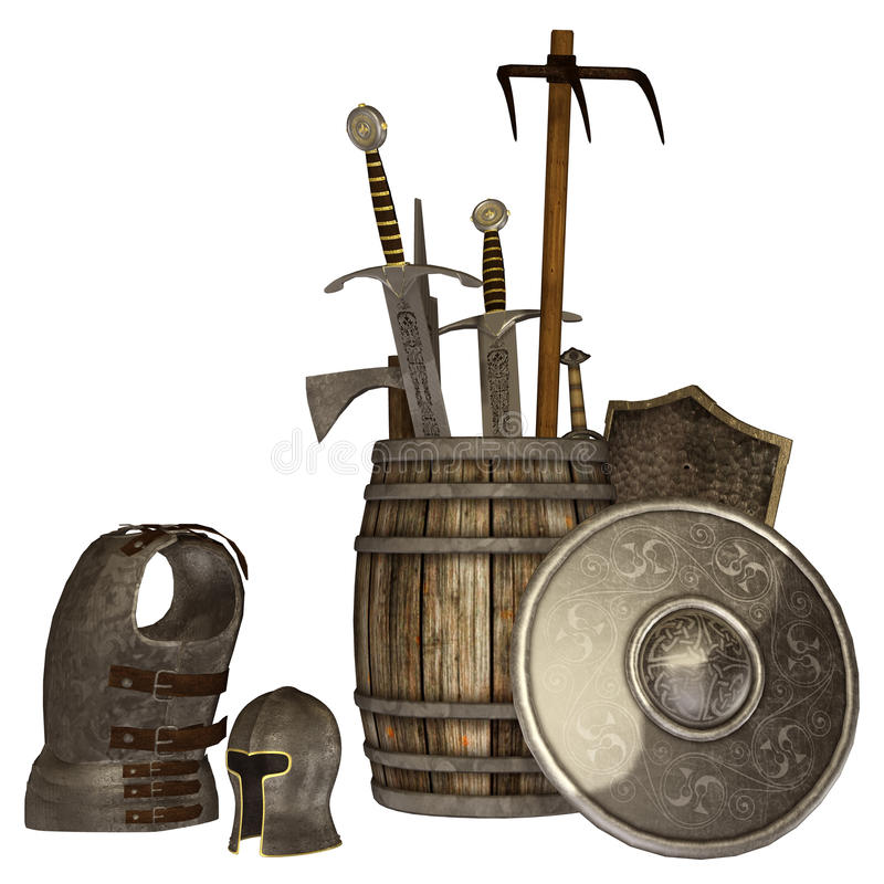 Medieval weapons and armour. 3D render of medieval weapons and armour pieces stock illustration