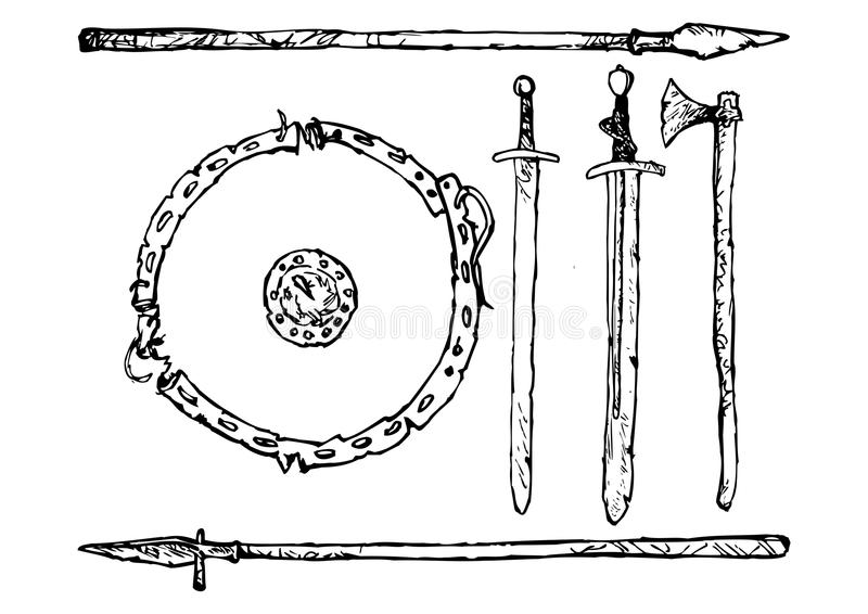 Medieval Weapons stock illustration
