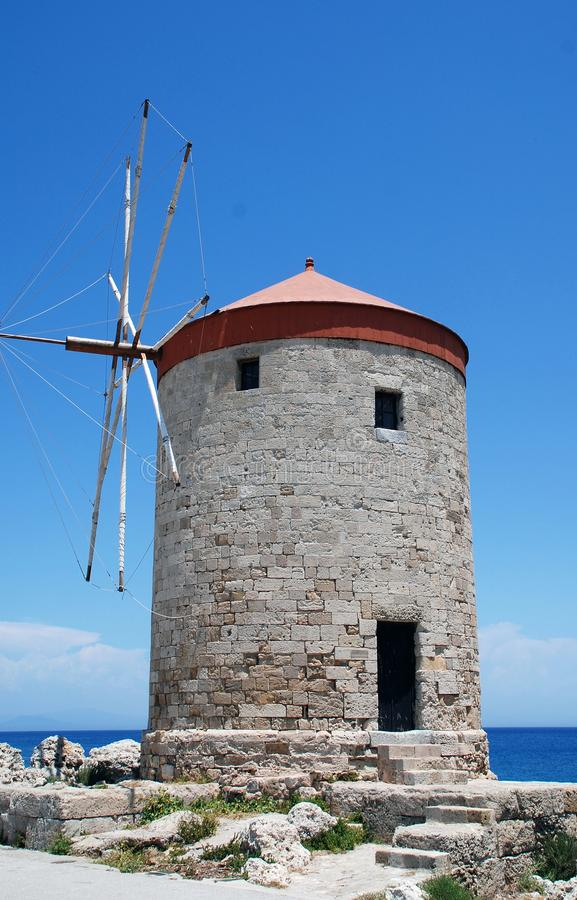 Medieval windmill, Rhodes stock photography