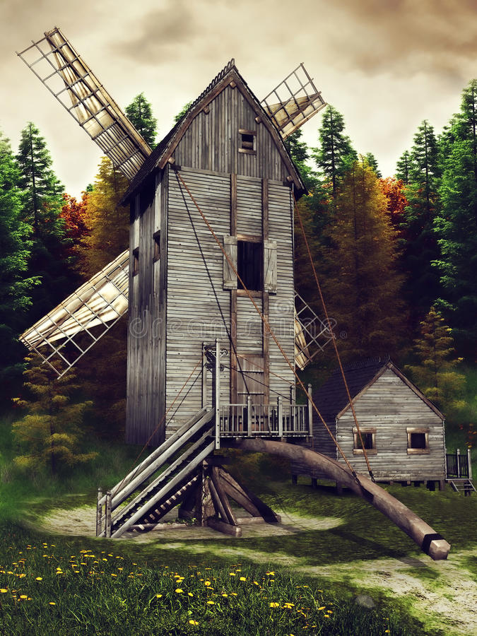 Medieval windmill and shed vector illustration