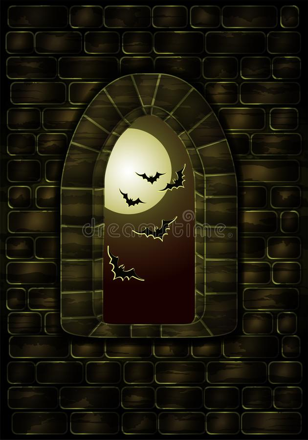 Medieval window in the magic castle. Happy halloween card, vector royalty free illustration