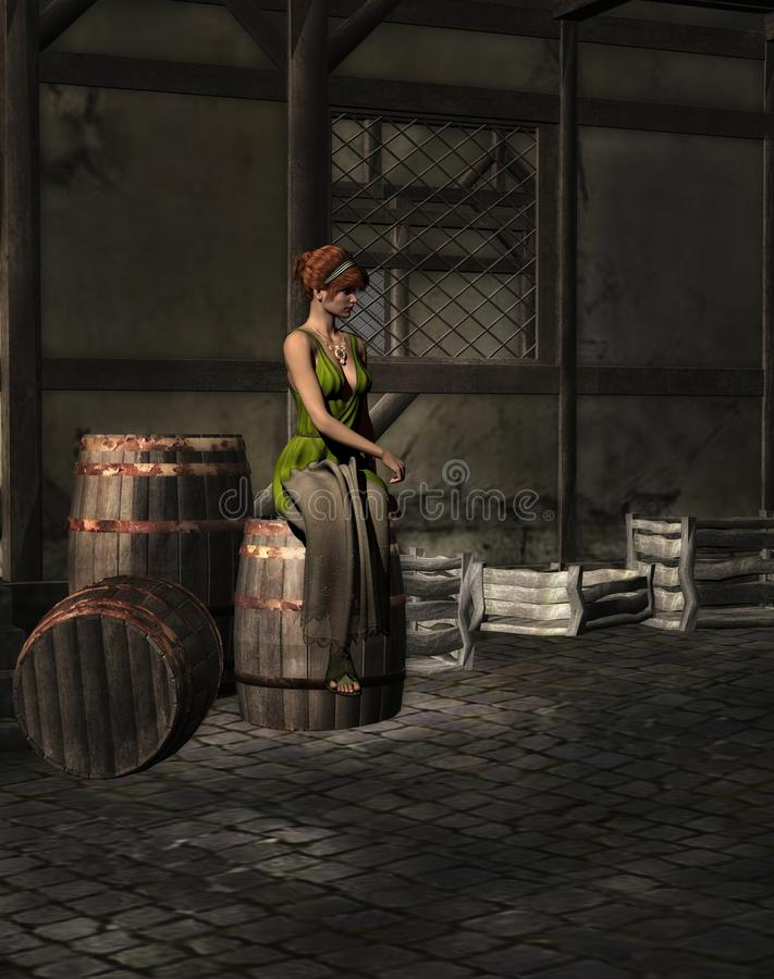 Medieval woman. A 3D rendered image of a medieval woman sitting on wooden barrels vector illustration