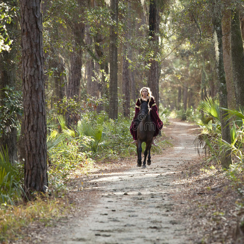 Download Medieval Woman On Horse Galloping Stock Photo - Image: 28130226