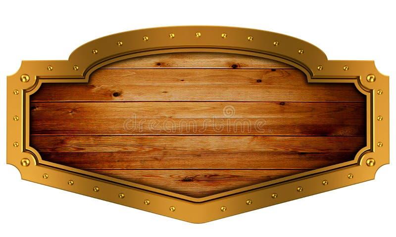 Medieval wood sign with metal golden frame. royalty free illustration
