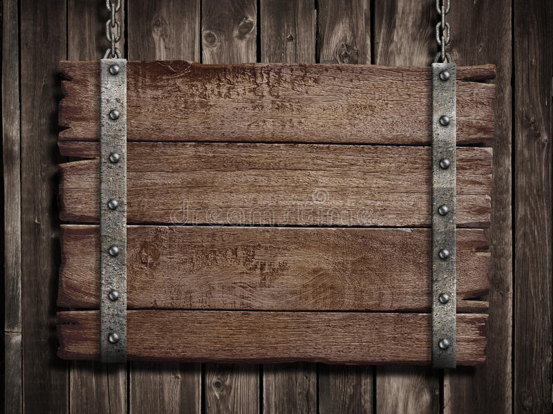 Medieval Wood Sign Over Old Wooden Plaque Stock Photo