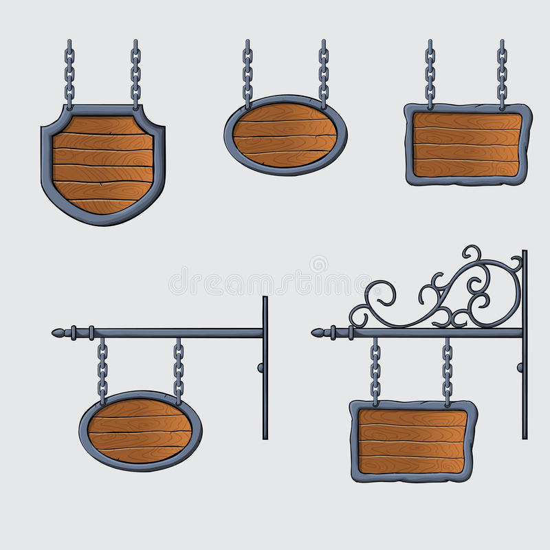 Medieval wood sign. Set of vector medieval wood sign hanging on chains isolated on white stock illustration