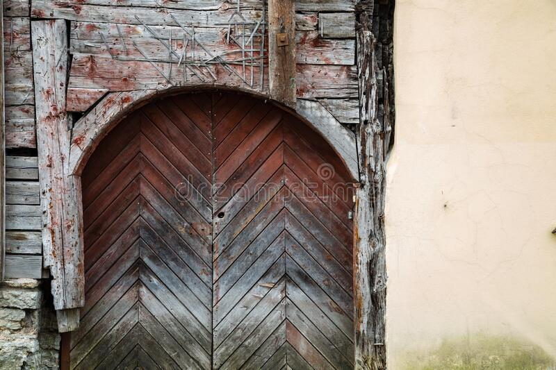 Medieval wooden arched door in Tallinn, Estonia. Europe stock images