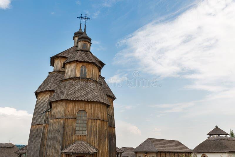 Zaporozhskaya Sich buildings on Khortytsia island, Ukraine. Medieval wooden church, temple of Cossacks. Buildings on Zaporozhskaya Sich on island of Khortytsia royalty free stock photos