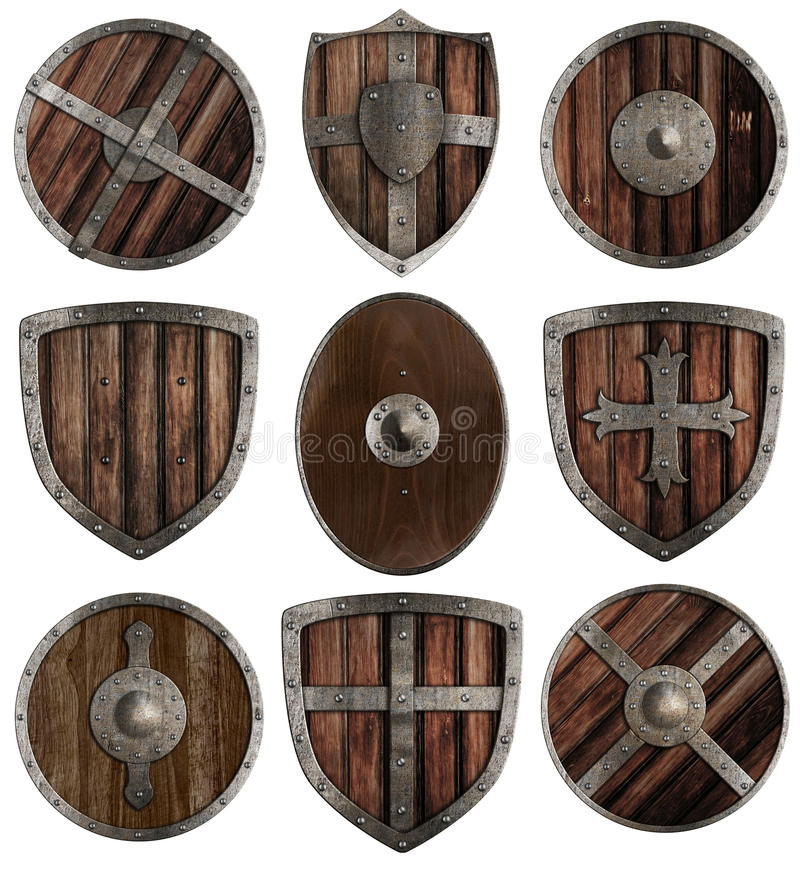 Medieval wooden shields collection isolated. On white royalty free stock photos