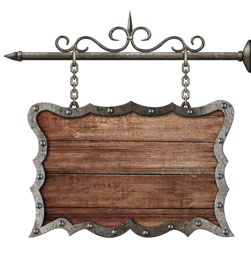 Medieval wooden sign board hanging on chains isolated stock image