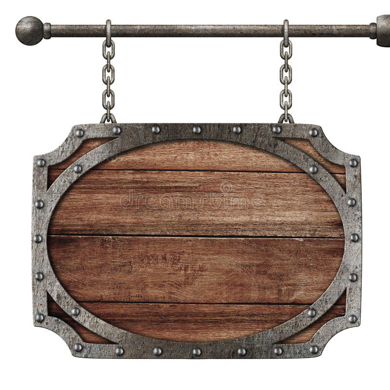 Medieval wooden sign hanging on chains isolated stock image