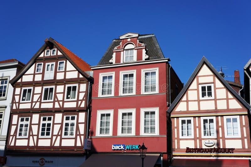 Medievalhus i Celle, Tyskland royaltyfria foton