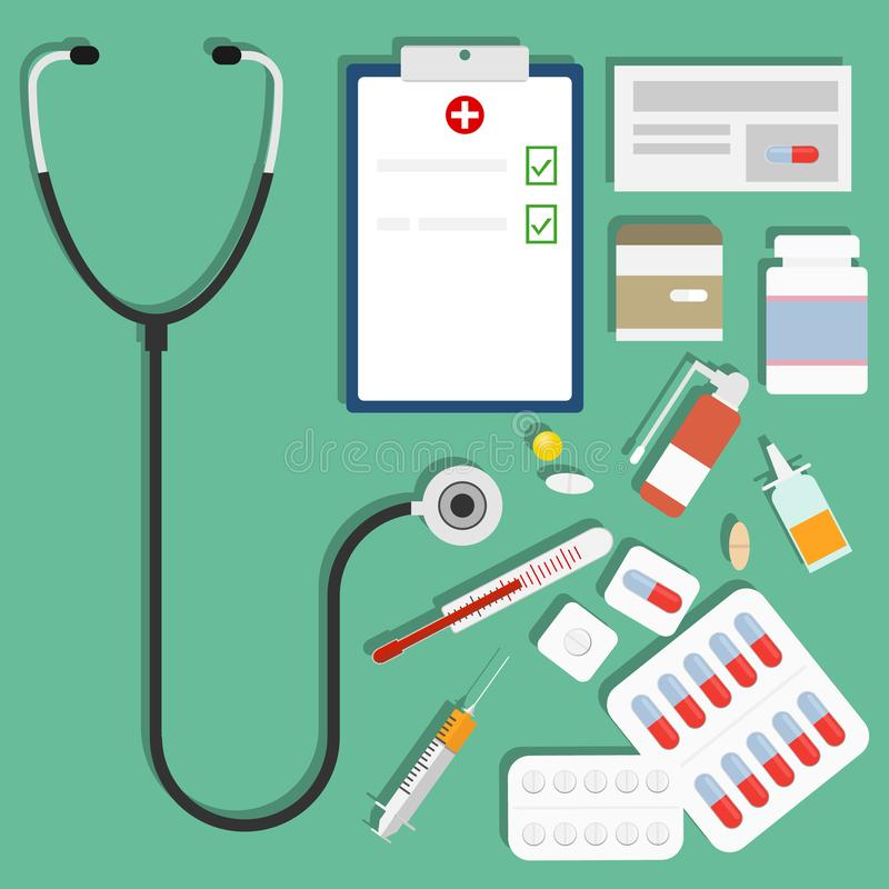 Medikationen, ein Satz Medikationen, Pillen, eine Spritze, ein Thermometer, ein Stethoskop lizenzfreie abbildung