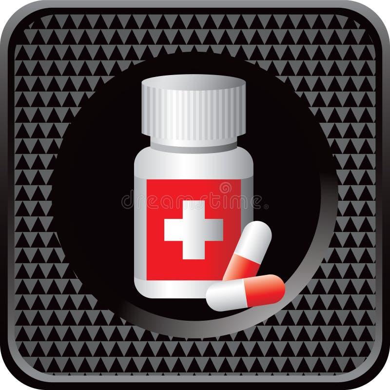 Medikationflasche auf schwarzer checkered Web-Taste stock abbildung