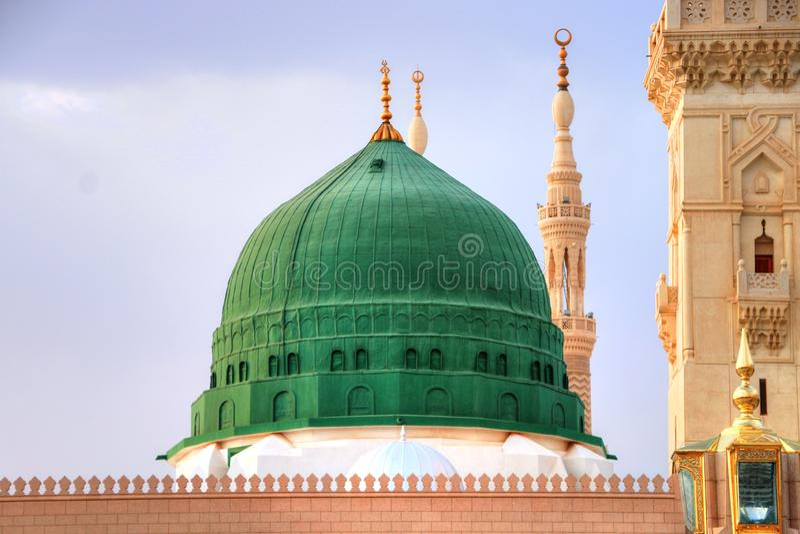 Medina/Arabia Saudyjska - 30 maja 2015 r.: Prorok Mohammed Meczet, Al Masjid i Nabawi fotografia stock