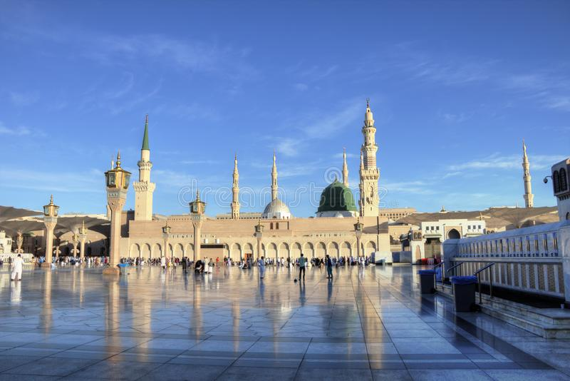 Medina/Arabia Saudyjska - 30 maja 2015 r.: Prorok Mohammed Meczet, Al Masjid i Nabawi fotografia royalty free