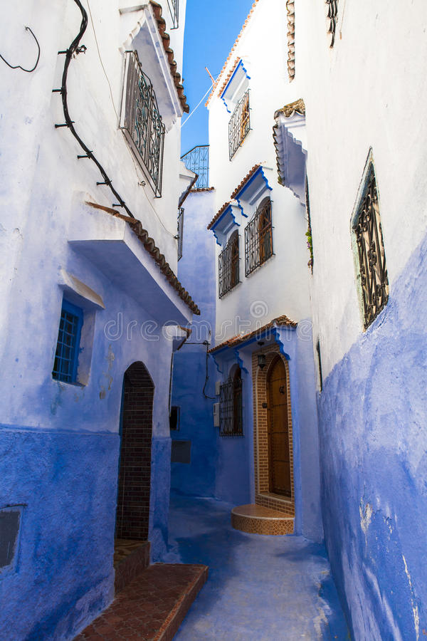 Medina architektura Chefchaouen, Maroko obraz stock