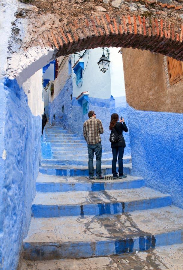 Medina azul bonito da cidade de Chefchaouen em Marrocos, África foto de stock royalty free
