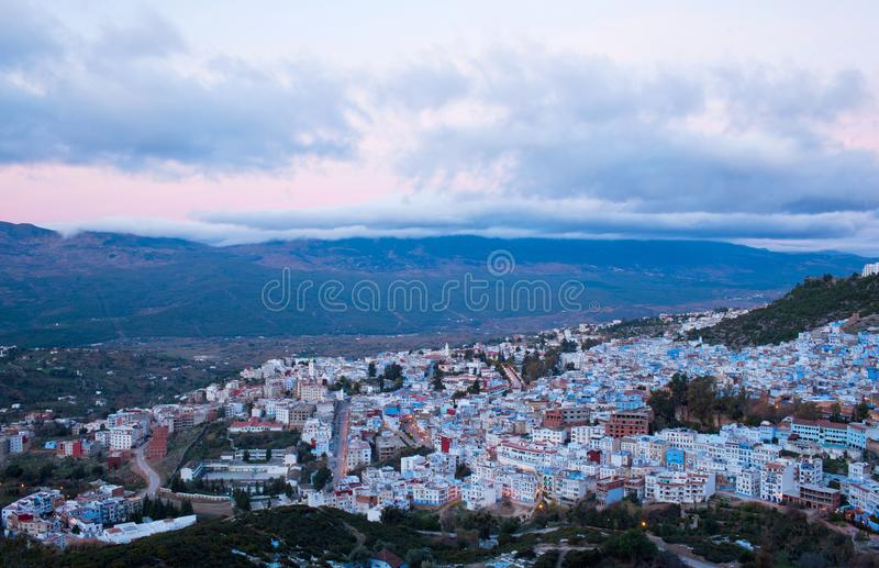 Medina of Chefchaouen city in Morocco, Africa. Aerial view of Chefchaouen Medina in Morocco, Africa. Chefchaouen or Chaouen is a city in northwest Morocco. It is stock photography