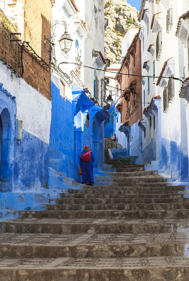 Medina of Chefchaouen, Morocco. The Medina de Chefchaouen - also known as Chaouen or Xauen - is a small and calm evironment.When entering one of the five stock photo