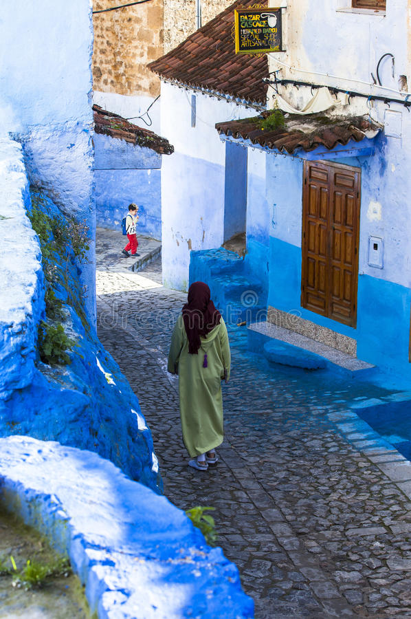 Medina of Chefchaouen, Morocco. The Medina de Chefchaouen - also known as Chaouen or Xauen - is a small and calm evironment. When entering one of the five royalty free stock images