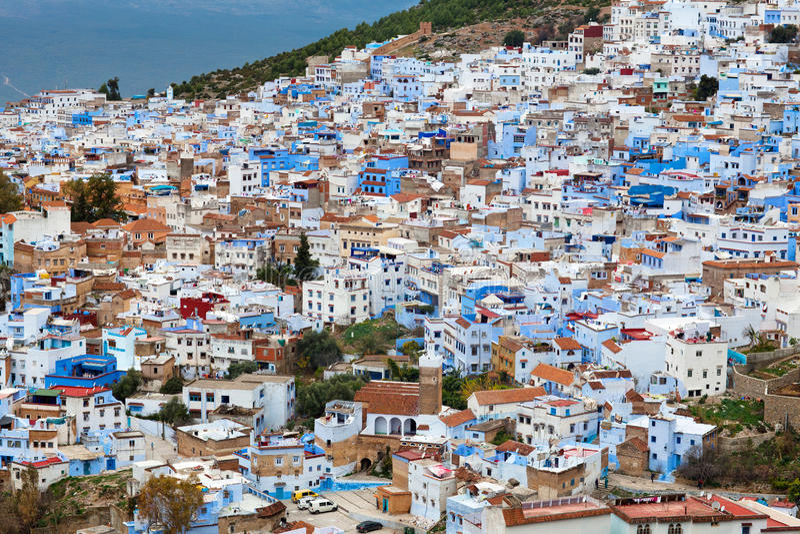 Medina da cidade de Chefchaouen em Marrocos, África fotografia de stock royalty free