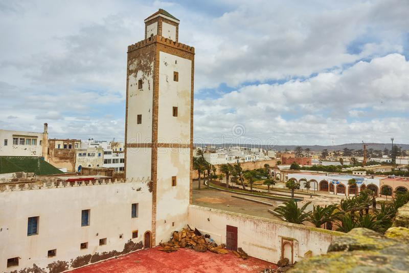 Medina entrance tower and old city walls in Essaouira stock image