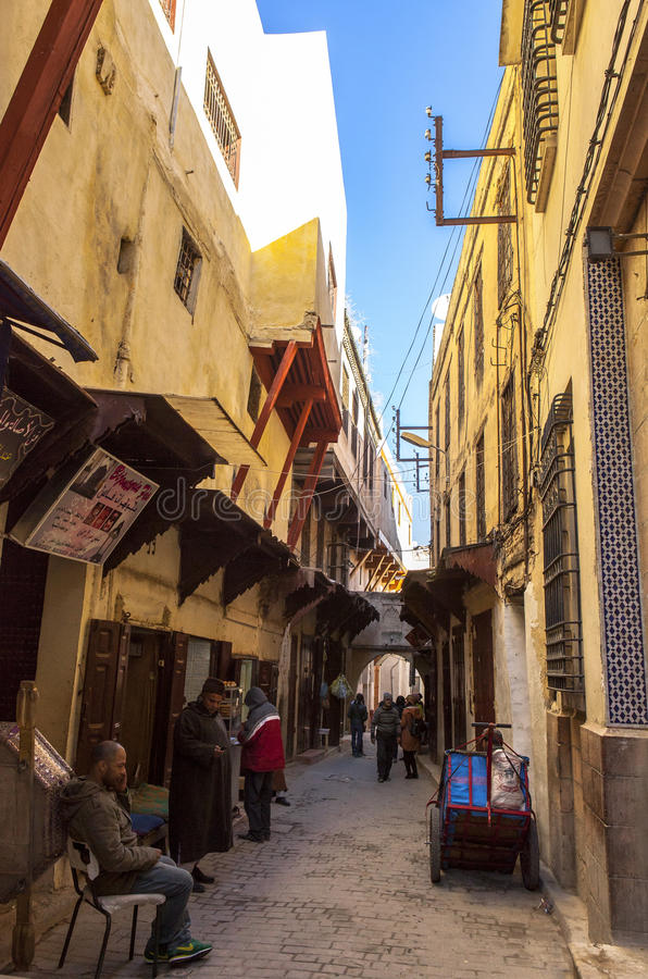 Medina of fes, Morocco. Founded in the 9th century and home to the oldest university in the world, Fez reached its height in the 13th–14th centuries under royalty free stock images