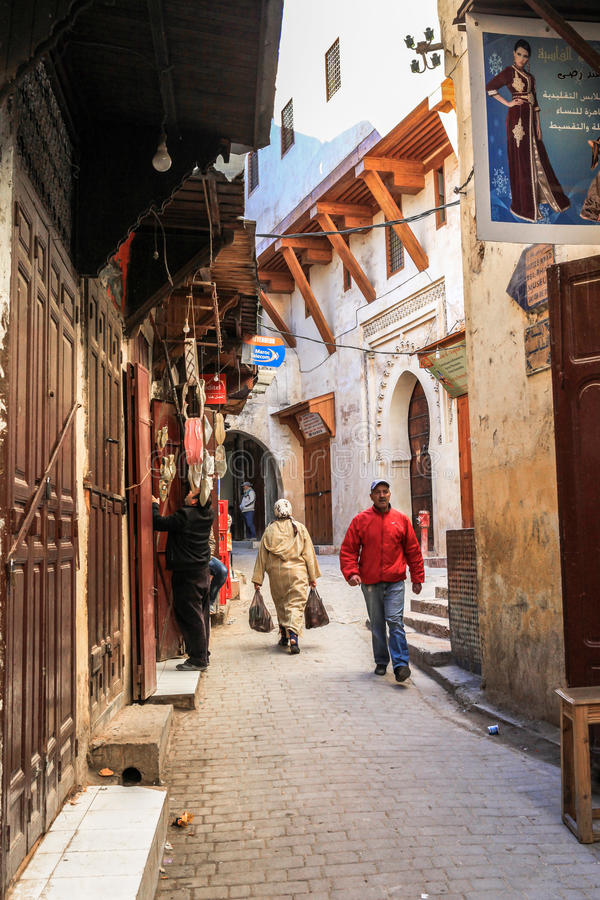 Medina of Fez in Morocco. Founded in the 9th century and home to the oldest university in the world, Fez reached its height in the 13th–14th centuries royalty free stock images